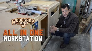 Fold Down Miter Saw Cover To Complete Bench Top - All-In-One Woodworking Table Miter Saw Station