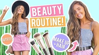 BEAUTY ROUTINE! Everyday Makeup, Hair + Outfit Ideas 2017! Pamper Routine + Easy Beach Curls