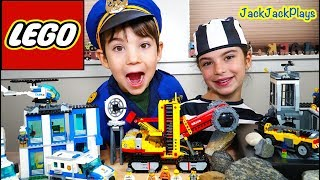 Lego City Police Chase and Prison Escape + Costume Pretend Play Cops & Robbers