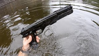 Gun Found!! River Treasure Hunting + Magnet Fishing *Crazy Finds*