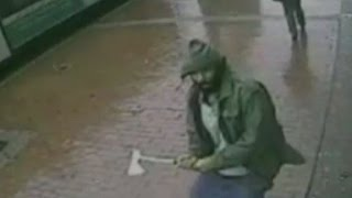 Video shows ax attack on NYPD officers