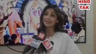 Bollywood actress Shilpa Shetty along with her family visited Sai Baba temple in Shirdi