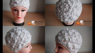 How to crochet puff hat free pattern tutorial by marifu6a