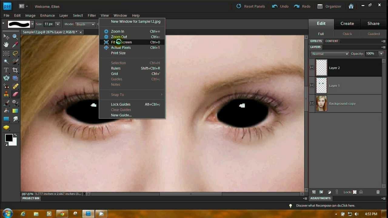 Как сделать в фотошопе онлайн черные глаза