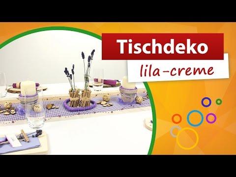 ♥ Tischdeko Lila Creme ♥ Tischdekoration - Trendmarkt24