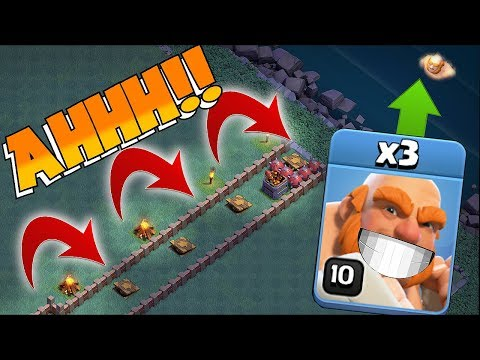 MAX PUSH TRAP OFF THE MAP!! | Clash of clans | TRAPS Vs. GIANTS!!