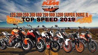 KTM Duke 125 200 250 390 690 790 990 1290 Super Duke R Top Speed 2019