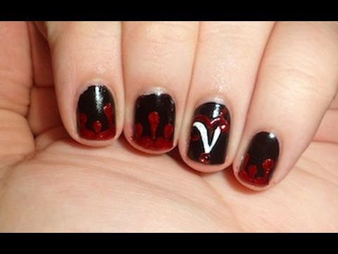 Vampire Diaries Nails - YouTube