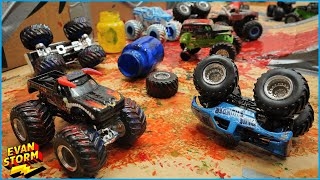 Monster Truck Monday Play at Home DIY Box Fort Monster Jam Arena Paint Battle