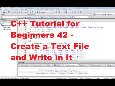 C++ Tutorial for Beginners 42 -Create a Text File and Write in It