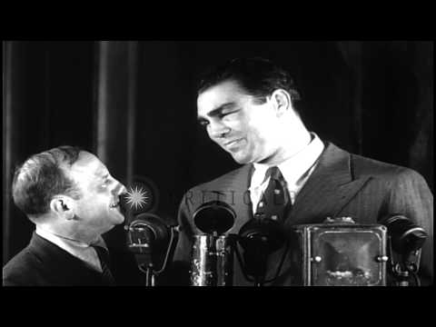 Max Schmeling after winning 1936 boxing match with Joe Louis in New York. HD Stock Footage