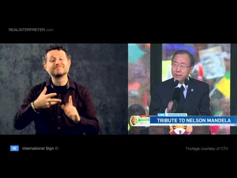 U.N. Secretary-Gen. Ban Ki-Moon in International Sign - Real Interpreter
