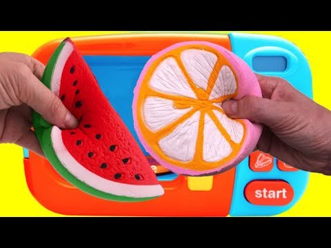 Microwave Surprise Toys Learn Colors Vecro Fruit Cutting Pretend Playset Fun for Kids