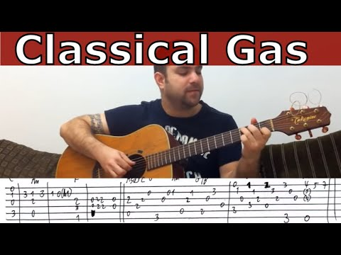 0 Tutorial: Classical Gas   Fingerstyle Guitar w/ TAB