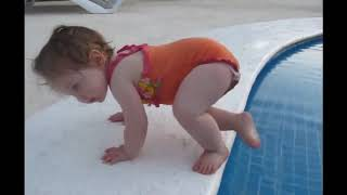 Funny Videos For Kids   Funny BABY try to get the swimming POOL