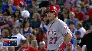 LAA@TEX: Trout gets hit by a pitch twice in the game