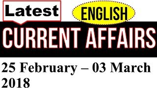 Latest GK February-March GK 2018  in English  - Latest Current Affairs FEB 2018  Part 4 MCQ