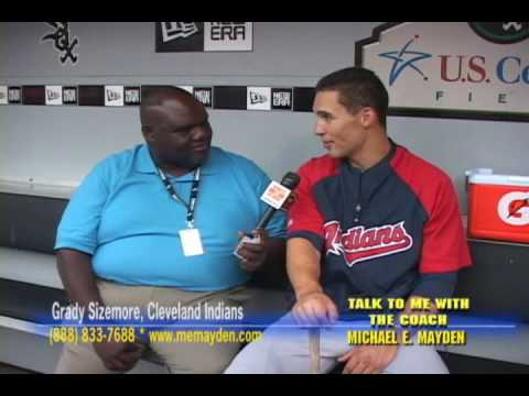GRADY SIZEMORE CLEVELAND INDIANS & COACH MAYDEN