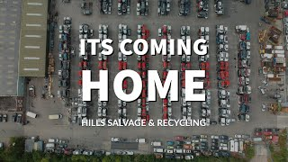 Hills Salvage and Recycling Ltd - The England Flag made of cars #itnearlycamehome