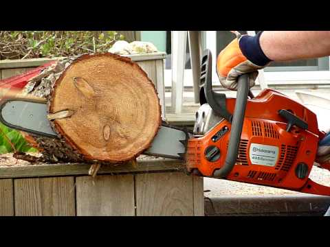 Husqvarna 455 Rancher chainsaw 5 passes test cuts