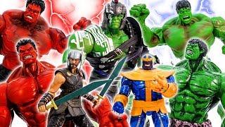 HULK SMASH~! Thanos HULK RED HULK Villains Attack! HULK Ragnarok, THOR, HULK GO - ToysPlayTime