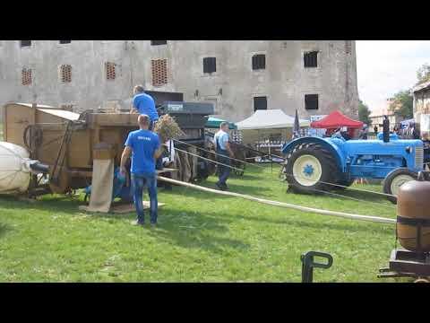 Pokaz młocarni z Muzeum Technik Rolniczych z Piotrowic Świdnickich