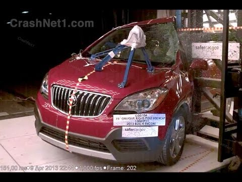 2013 Buick Encore (Opel/Vauxhall Mokka) Side Pole Crash Test by NHTSA | CrashNet1