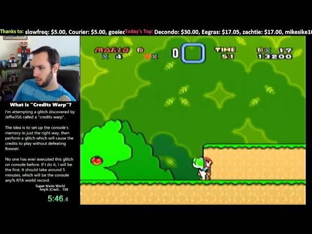 Super Mario World -- Credits Warp in 5:59.6 (First Time Ever on Console)