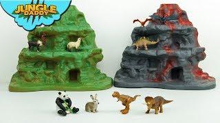 DINOSAUR MOUNTAIN Playset! Learn dinosaurs and animal toys for kids zoo jungle safari