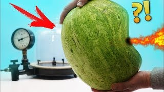 Experiment: A watermelon in a vacuum chamber.  What's gonna happen?