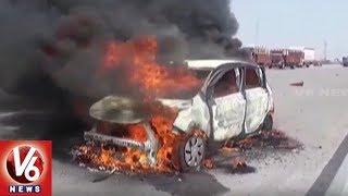 Car Catches Fire On ORR At Sultanpur Village, 1 Lost Life | Hyderabad