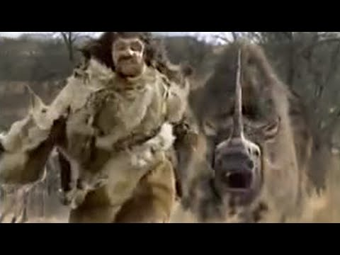 Neanderthal vs woolly rhino - BBC Video
