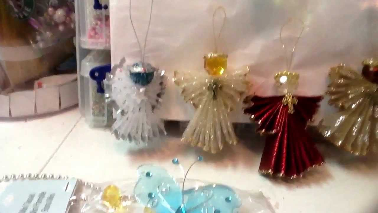 Angels made of ribbon from acmoore and bling angels from for Christmas trees at michaels craft store