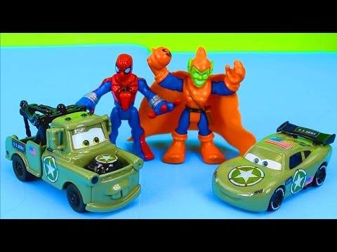 Disney Pixar Cars Army Car McQueen & Mater Save Spider-Man Another Mission Complete Just4fun290