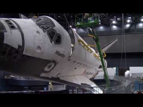 Space shuttle Atlantis' payload bay opened for display