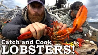 PRIMITIVE COOKING on the BEACH! | Catch and Cook Lobsters and Clams