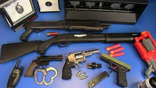 Airsoft Revolvers,Shotgun,Nerf Guns Toys ! Box of Toys