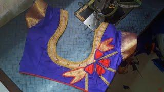 designer patches piping and Less saree border patch use make kanjvarm saree back neck blouse design