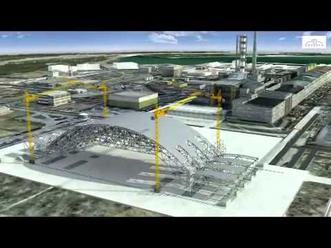Animation of the future construction of the arch that will encase Chernobyl