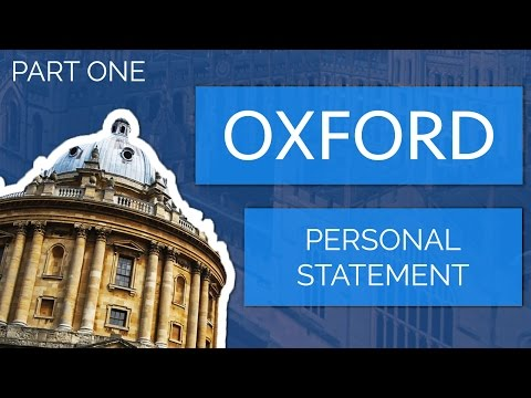 Applying to Oxford: The Personal Statement