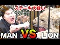 【大食い】ライオンvs人間(フィッシャーズ)で戦ったら肉を多く食べられるのはどっち!? thumbnail