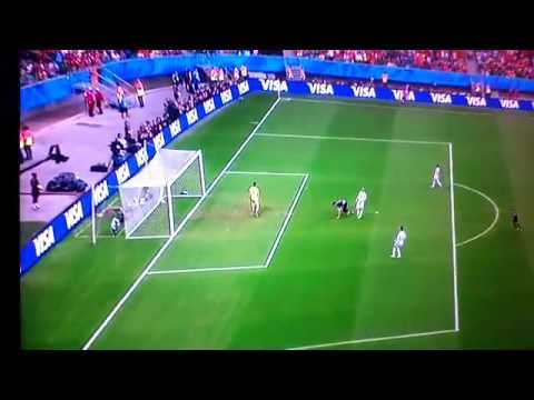 Robin van persie amazing diving header - 6th goal of the 2014 World Cup