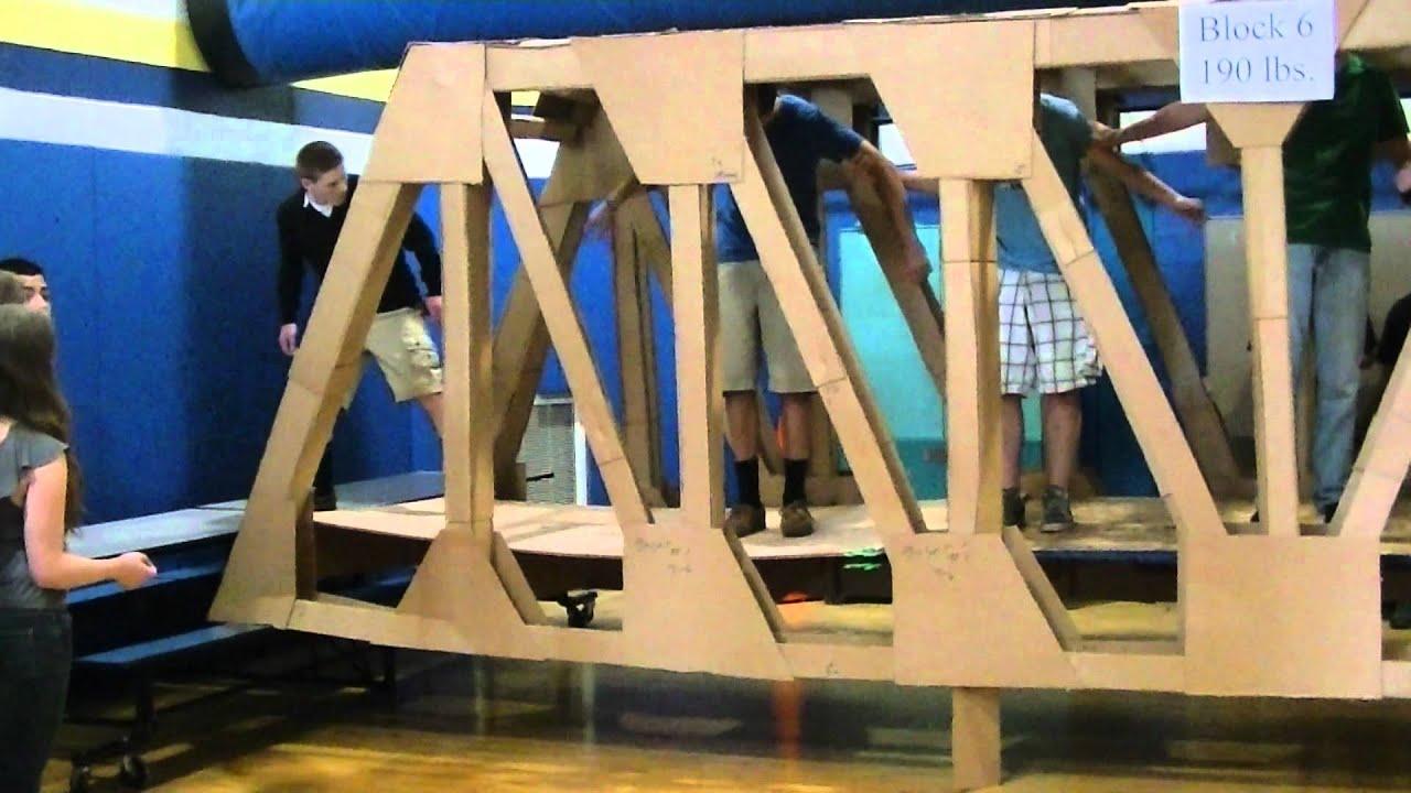 Full Sized 24 foot Cardboard Pratt Truss Bridge - Block 6 - Held 1275 lbs (8 people) - YouTube
