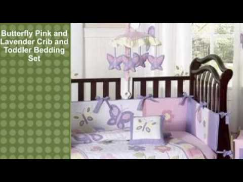 0 Butterfly Pink and Lavender Crib and Toddler Bedding Set