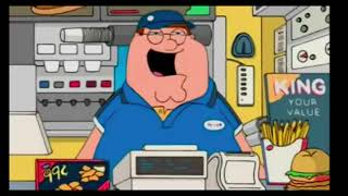 Family Guy- Peter gets a part time Job at Burger King.