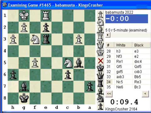 Chess World.net: Blitz #188 vs. babamusta (2022) - Closed Sicilian Defense (B23) (Chessworld.net)
