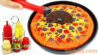 Learn Fruits Vegetables Play Doh Pizza Velcro Cutting Baby Toys Microwave Oven Kitchen Kids Playset