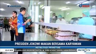 Jokowi Makan Bersama Karyawan Pabrik Motor
