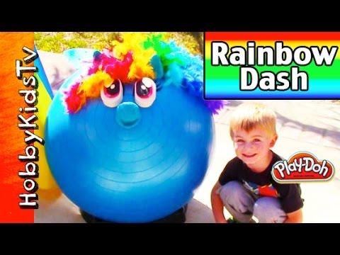 Mega Giant Play-doh Rainbow Dash Surprise Head! My Little Pony, Kinder Chocolate Egg Mlp Hobbykidstv video