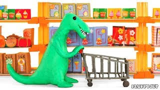 Big Dinosaur Supermarket Shopping For Food, 3D Wild Animals dinosaur Cartoon Animation